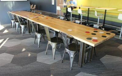 Industrial Meeting Table with graphic overlays