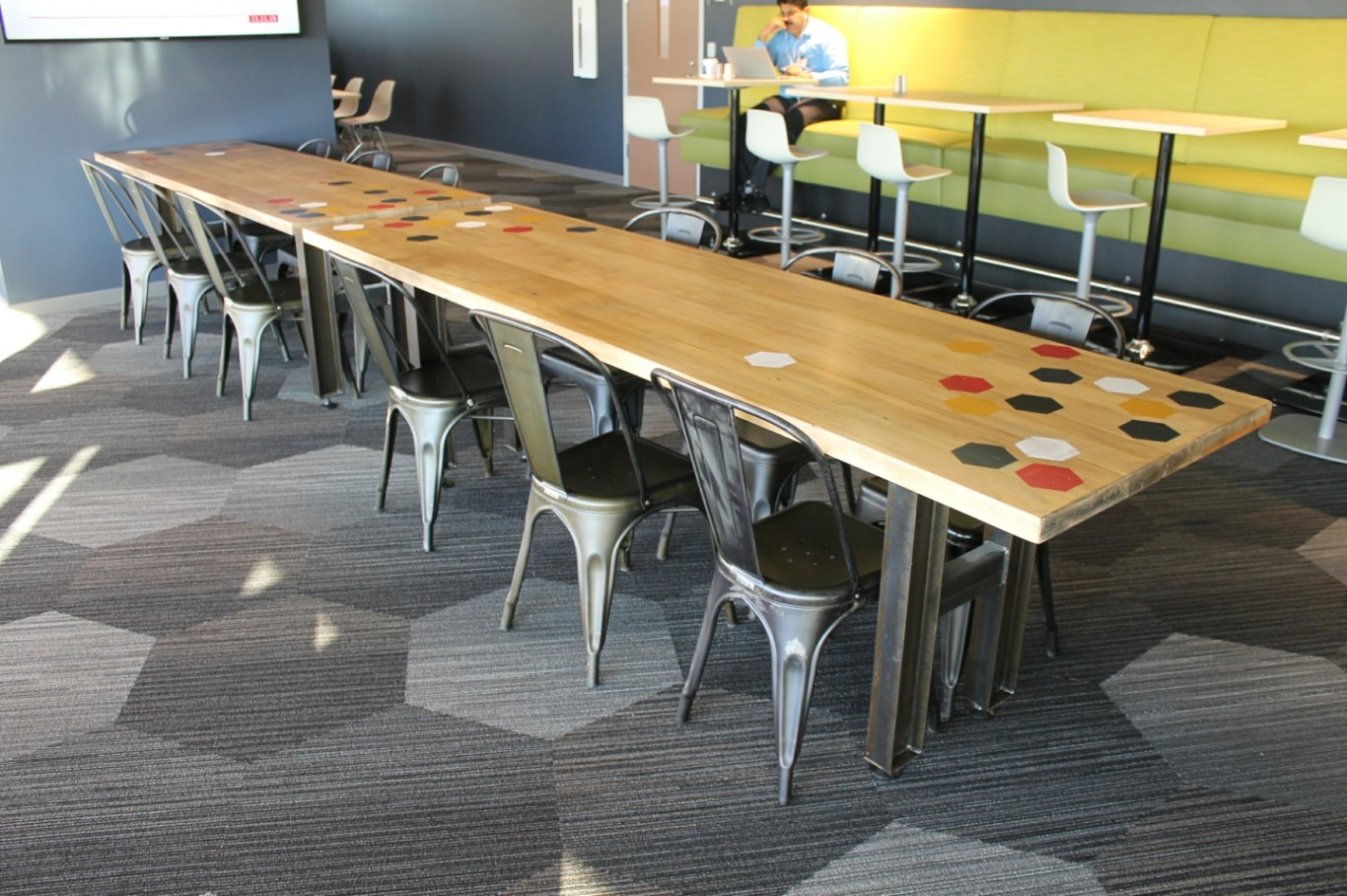 Industrial Meeting Table with graphic overlays Cornerstone