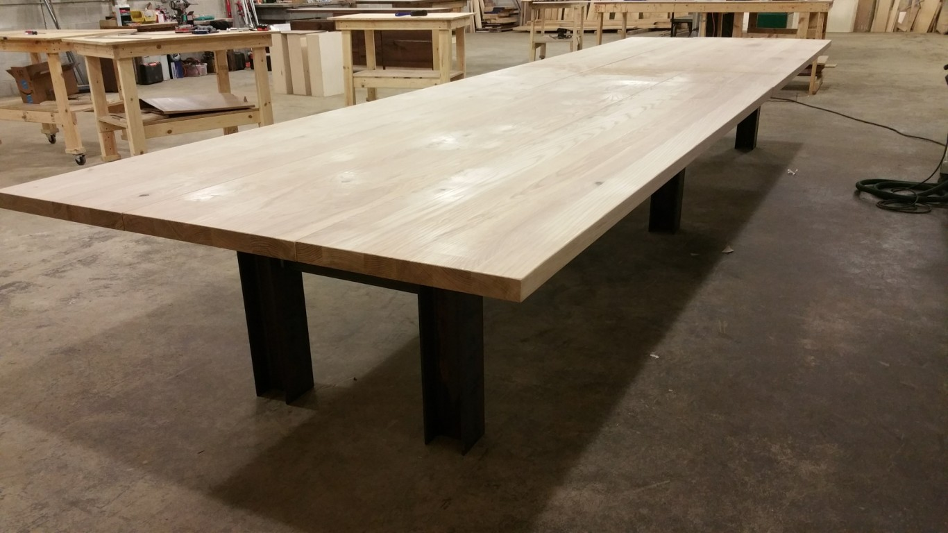 18 Ft Reclaimed Industrial Ash Plank Conference Table Cornerstone Furniture