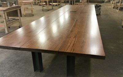 18 ft. Reclaimed Industrial Ash Plank Conference table