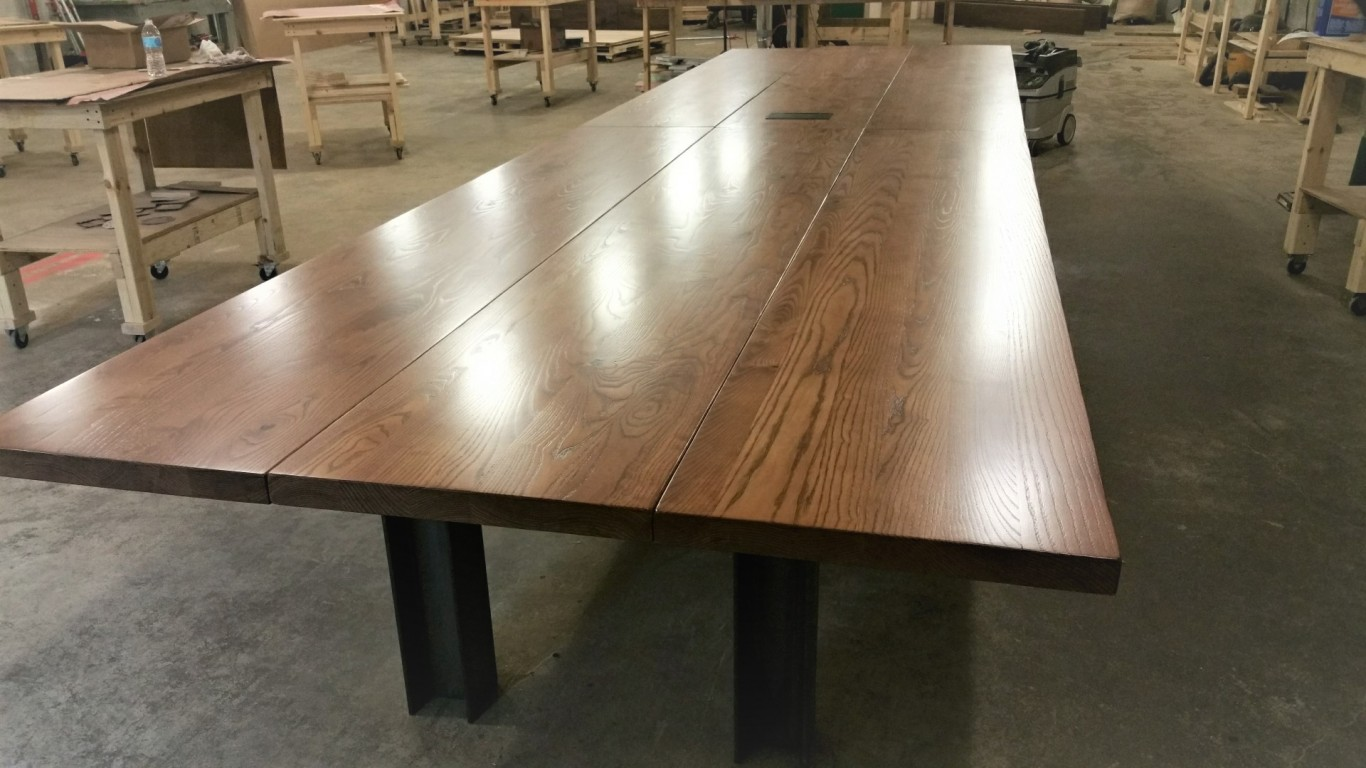 Ft Reclaimed Industrial Ash Plank Conference Table Cornerstone - 18 ft conference table