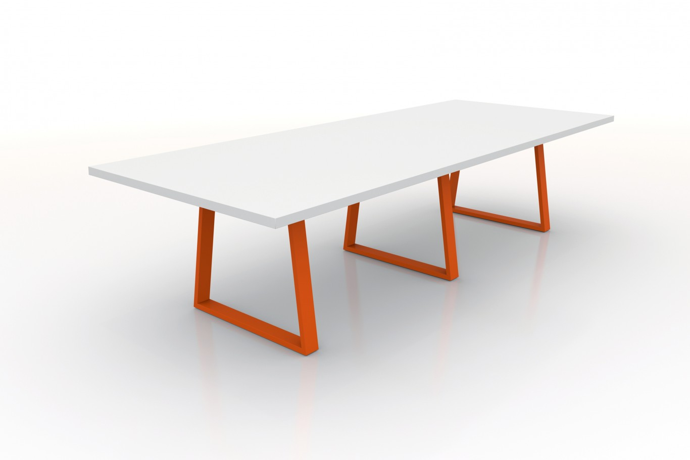 Modern Conference table, Laminate top with Orange bases