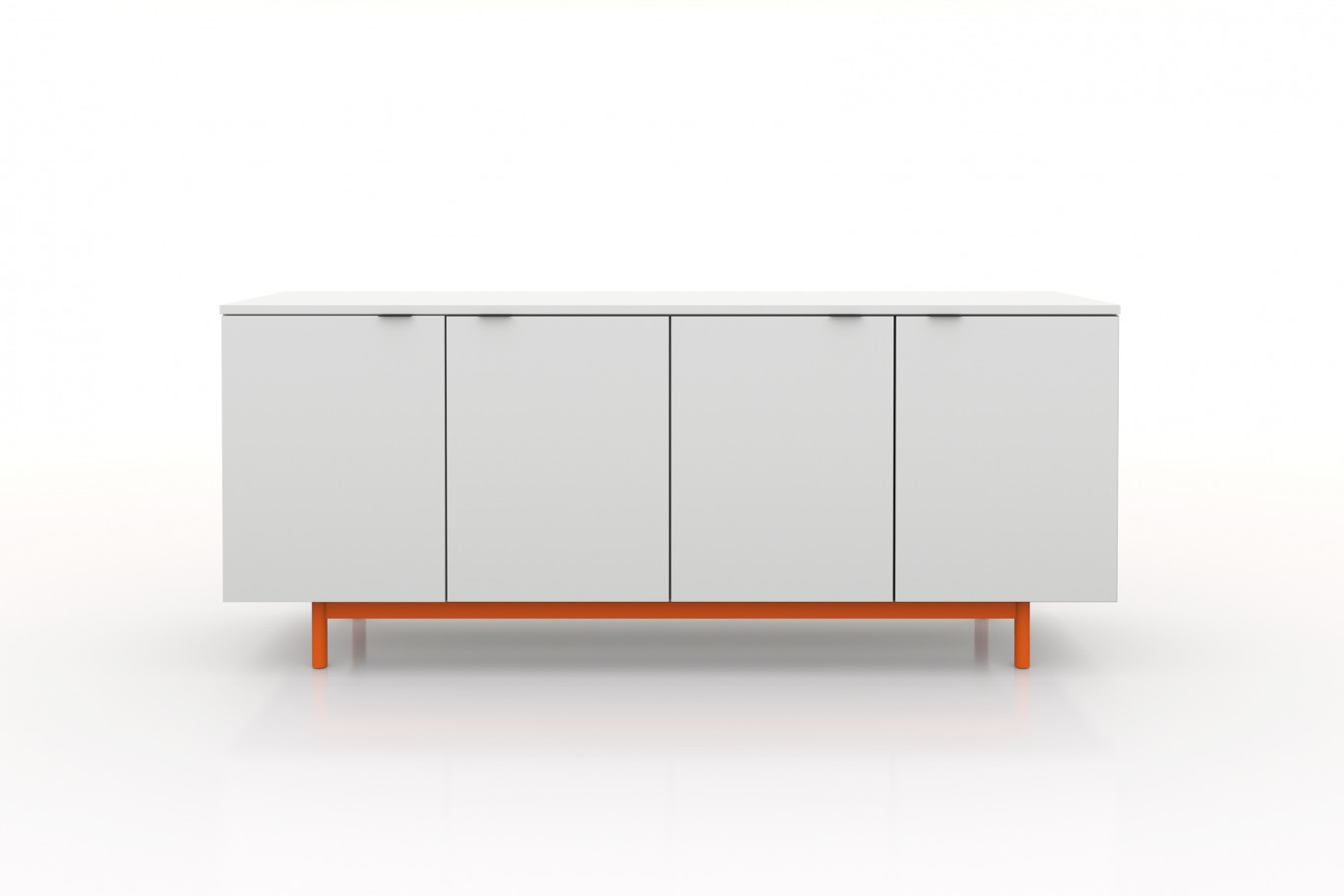 Modern Credenza / White laminate / orange base