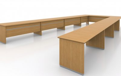 Conference Table Rift Oak & Brushed Chrome