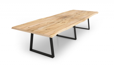 Modern Industrial conference table with live edge and steel trapezoid bases