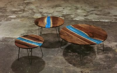 Walnut with Caribbean Blue River Occasional Tables